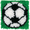 Soccer - Wonderart Latch Hook Kit 8 X8  CARON-Wonderart Latch Hook Kit. These extra shaggy rugs are wonderfully lush and can be made to fit any decor motif. The possibilities are astounding, you can use them on the floor, wall, sofa, bed, window or even make them into pillows and seat cushions. They are easy to make, it would be a wonderful family project! This kit contains color coded canvas, pre-cut rug yarn, a chart and instructions. Hook tool and finishing materials are not included. Finished Size: 8x8 inches. Design: Soccer. Made in USA.