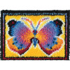 Butterfly Fantasy - Wonderart Latch Hook Kit 15 X20  CARON-Wonderart: Latch Hook Kit. This kit will give you a rug that is wonderfully lush and can be made to fit any decor motif. The possibilities are astounding, you can use them on the floor, wall, sofa, bed, window or even make them into pillows, nap-mats and seat cushions. They are easy to make, it would be a wonderful family project! This kit contains a 50% polyester/50% cotton canvas, pre- cut rug yarn, illustrated how to latch hook instructions and an easy-to-follow chart. Hook tool and binding materials are not included. Size: 15x20 inches. Design: Butterfly Fantasy. Made in USA.