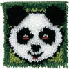 Panda - Wonderart Latch Hook Kit 8 X8  CARON-Wonderart Latch Hook Kit. These extra shaggy rugs are wonderfully lush and can be made to fit any decor motif. The possibilities are astounding, you can use them on the floor, wall, sofa, bed, window or even make them into pillows and seat cushions. They are easy to make, it would be a wonderful family project! This kit contains color coded canvas, pre-cut rug yarn, a chart and instructions. Hook tool and finishing materials are not included. Finished Size: 8x8 inches. Design: Panda. Made in USA.