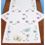 Fluttering Butterflies - Stamped Dresser Scarf & Doilies Perle Edge