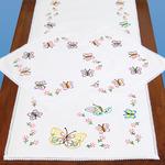 Fluttering Butterflies - Stamped Dresser Scarf & Doilies Lace Edge