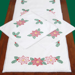 Poinsettias - Stamped Dresser Scarf & Doilies Lace Edge