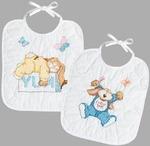 "9-1/2""X11"" Set Of 2 - Sleepy Bunnies Bibs Stamped Cross Stitch Kit"
