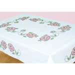 "XX Roses - Stamped White Table Cloth 50""X70"""