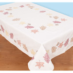 """Fall Leaves - Stamped White Table Cloth 50""""X70"""""""