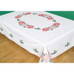 "Poinsettias - Stamped White Table Cloth 50""X70"""