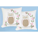 "Chicken Scratch Owls - Stamped White Pillowtops 15""X15"" 2/Pkg"