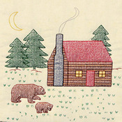 "Cabin & Bears - Stamped Ecru Quilt Blocks 18""X18"" 6/Pkg"