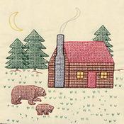 "Cabin & Bears - Stamped Ecru Quilt Blocks 18""X18"" 6/Pkg"