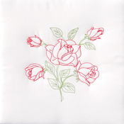 "Long Stem Rose - Stamped White Quilt Blocks 18""X18"" 6/Pkg"