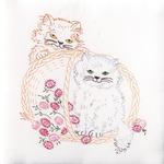 "Kittens In A Basket - Stamped White Quilt Blocks 18""X18"" 6/Pkg"