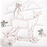 "Deer Family - Stamped White Quilt Blocks 18""X18"" 6/Pkg"