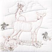 """Deer Family - Stamped White Quilt Blocks 18""""X18"""" 6/Pkg"""
