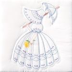"Parasol Lady - Stamped White Quilt Blocks 18""X18"" 6/Pkg"