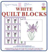 """Iris - Stamped White Quilt Blocks 18""""X18"""" 6/Pkg"""