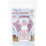 "Stamped White Quilt Blocks 18""X18"" 6/Pkg - Interlocking XX Colonial"