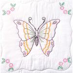 "Butterfly - Stamped White Quilt Blocks 18""X18"" 6/Pkg"