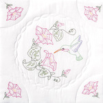 "Hummingbird - Stamped White Quilt Blocks 18""X18"" 6/Pkg"