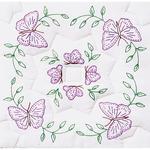 "Stamped White Quilt Blocks 18""X18"" 6/Pkg - Interlocking Circle Of Butterflies"