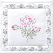 "Rose - Stamped White Quilt Blocks 18""X18"" 6/Pkg"
