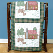"Cabin & Bears - Stamped White Quilt Blocks 18""X18"" 6/Pkg"