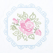 "XX Rose - Stamped White Quilt Blocks 18""X18"" 6/Pkg"