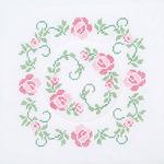 "XX Circle Of Roses - Stamped White Quilt Blocks 18""X18"" 6/Pkg"
