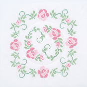"XX Circle Of Roses - Stamped White Quilt Blocks 18""X18"" 6/Pkg"