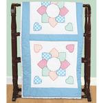 """Patchwork Hearts - Stamped White Quilt Blocks 18""""X18"""" 6/Pkg"""
