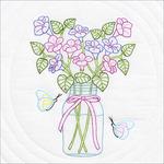 """Mason Jar & Flowers - Stamped White Quilt Blocks 18""""X18"""" 6/Pkg"""