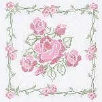 """Rose Bouquet - Stamped White Quilt Blocks 18""""X18"""" 6/Pkg"""