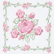 "Rose Bouquet - Stamped White Quilt Blocks 18""X18"" 6/Pkg"