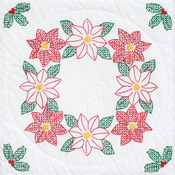 "Poinsettias - Stamped White Quilt Blocks 18""X18"" 6/Pkg"