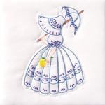 "Parasol Lady - Stamped White Quilt Blocks 9""X9"" 12/Pkg"