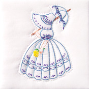 "Parasol Lady - Stamped White Quilt Blocks 9""X9"" 12/Pkg"