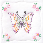 "Butterfly - Stamped White Quilt Blocks 9""X9"" 12/Pkg"