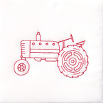 "Old Tractor - Stamped White Quilt Blocks 9""X9"" 12/Pkg"