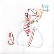 """Snowman - Stamped White Quilt Blocks 9""""X9"""" 12/Pkg"""