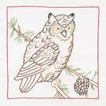 "Owl - Stamped White Quilt Blocks 9""X9"" 12/Pkg"