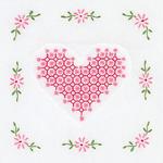 """Chicken Scratch Hearts - Stamped White Quilt Blocks 9""""X9"""" 12/Pkg"""
