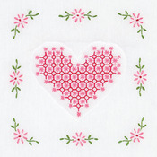 "Chicken Scratch Hearts - Stamped White Quilt Blocks 9""X9"" 12/Pkg"
