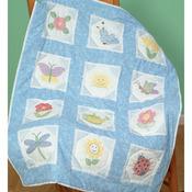 """Octagon Garden - Themed Stamped White Quilt Blocks 9""""X9"""" 12/Pkg"""