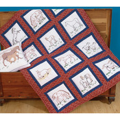 "Horses - Themed Stamped White Quilt Blocks 9""X9"" 12/Pkg"