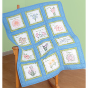 "Flowers - Themed Stamped White Quilt Blocks 9""X9"" 12/Pkg"