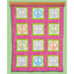 """Peace Signs - Themed Stamped White Quilt Blocks 9""""X9"""" 12/Pkg"""
