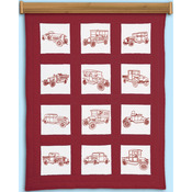 "Vintage Vehicles - Themed Stamped White Quilt Blocks 9""X9"" 12/Pkg"