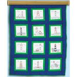 """Lighthouses - Themed Stamped White Quilt Blocks 9""""X9"""" 12/Pkg"""