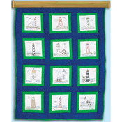 "Lighthouses - Themed Stamped White Quilt Blocks 9""X9"" 12/Pkg"