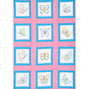 "Butterflies - Themed Stamped White Quilt Blocks 9""X9"" 12/Pkg"