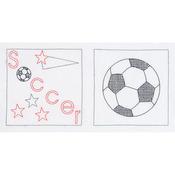 """Soccer - Stamped White Sport-Themed Quilt Blocks 14""""X14"""" 6/Pkg"""